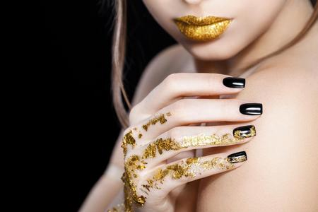Glam black nails at our nail bar in Royal Leamington Spa and Warwick