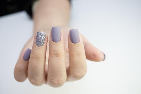 Shellac matt lilac nails with glitter at our nail bar in Royal Leamington Spa and Warwick